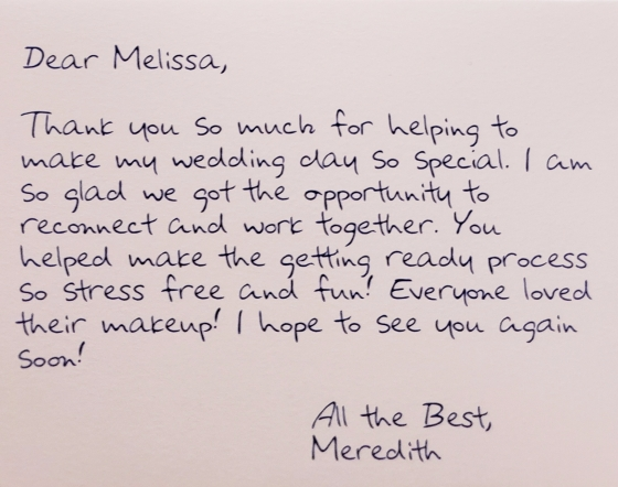 Meredith Thank You note